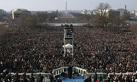 Obama giving his inaugural address