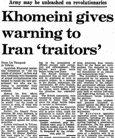Iranian Revolution, 30 years: Khoemini gives warning