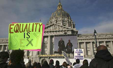 gay marriage, proposition 8 Protesters gather in front of California's