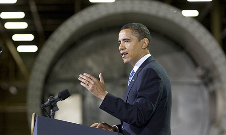 Barack Obama speaks at Trinity Structural Towers wind energy plant in Newton, Iowa on Earth Day