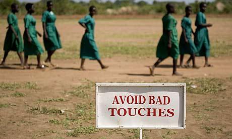 A sign at the Oimai primary school in Oimai village, Merok parish, Katine