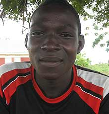 Katine footballer Daniel Ochan, 17, who will be playing for the Merok Hippos in the Katine 09 football tournament