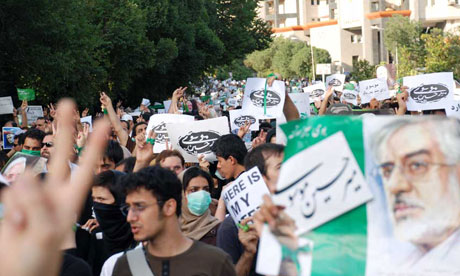 Supporters of Mir Hossein Mousavi protest in the streets of Tehran.