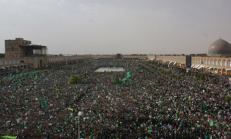 Supporters of Mir Hossein Mousavi gather at Naghsh Jahan square in Isfahan, Iran