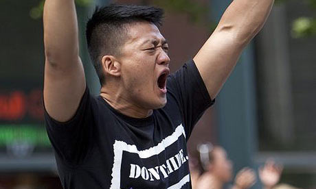 Dan Choi at a gay pride parade in San Francisco