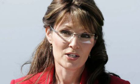 Sarah Palin announces her resignation as Alaska governor in her hometown of Wasilla. Photograph: Robert DeBerry/AP
