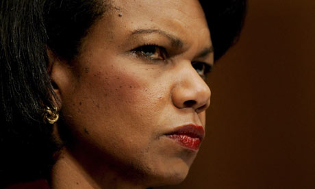 Condoleezza Rice: gave the first known official approval of waterboarding, Senate report claims. Photograph: Stefan Zaklin/EPA