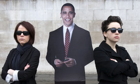 Cardboard cutout of Barack Obama