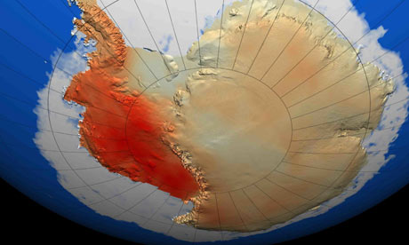 West Antarctic, in red, has warmed far more than the east over the last 50 years