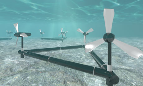 TIDAL power gets a boost from propeller and wind turbine.