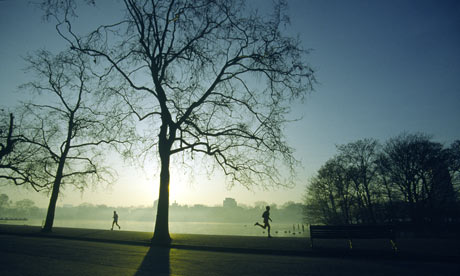Early morning exercise Hyde Park, London