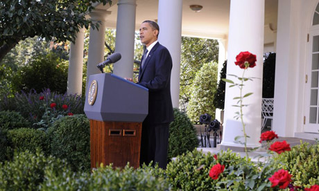 Barack Obama speaks in the White House rose garden after being awarded the Nobel peace prize.