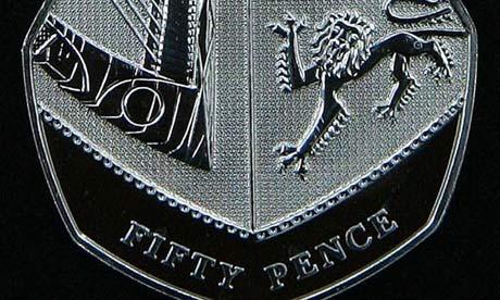 A 50p coin.