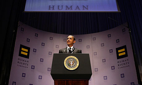 Barack Obama addresses the 13th annual national dinner of the Human Right Campaign in Washington, DC