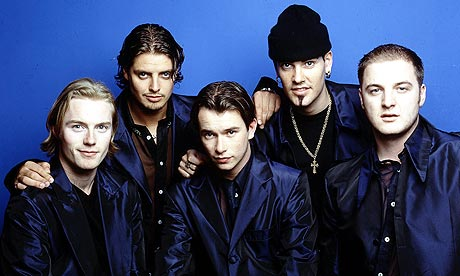 Boyzone in 1997 (l-r) Ronan Keating, Keith Duffy, Stephen Gately, Shane Lynch, Mickey Graham.