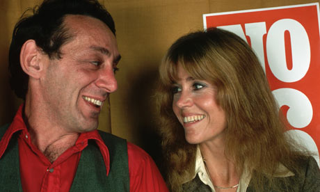Harvey Milk campaigns with Jane Fonda at a rally in California in 1978