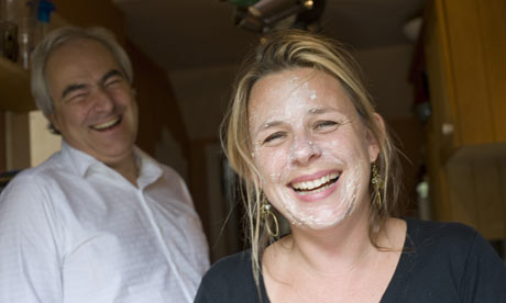 Bibi van der Zee and Mark Constantine of Lush see the funny side of her porridge oat facepack.