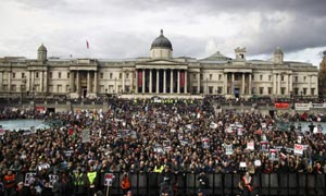 Protesters gather in Trafalgar Square on 24 February 2007