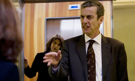Peter Capaldi as Malcolm Tucker and Rebecca Front as Nicola Murray in The Thick of It.
