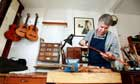 Violin bow maker Matthew Coltman in his workshop.