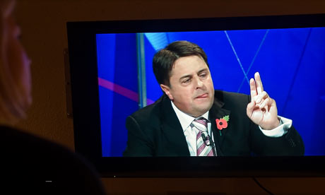 A viewer watches Nick Griffin on Question Time