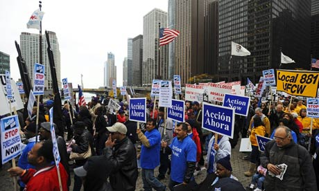 Protests during the American Bankers Association convention in Chicago, Illinois.