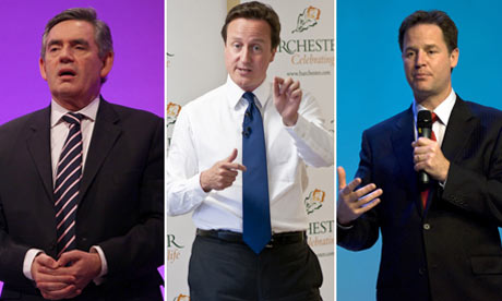 Political leaders, Brown, Cameron and Clegg