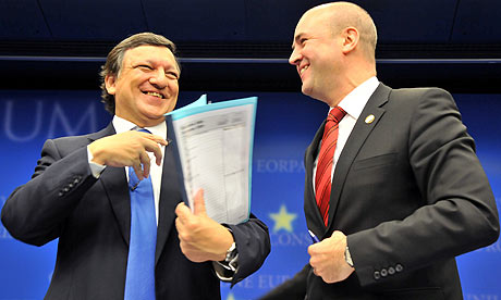 Jose Manuel Barroso and Fredrik Reinfeldt