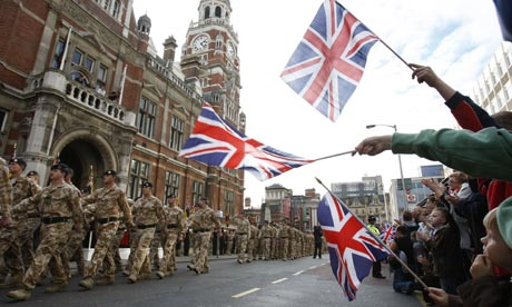 Soldiers from the 2nd Rifles Battalion march through Croydon on their return from Afghanistan