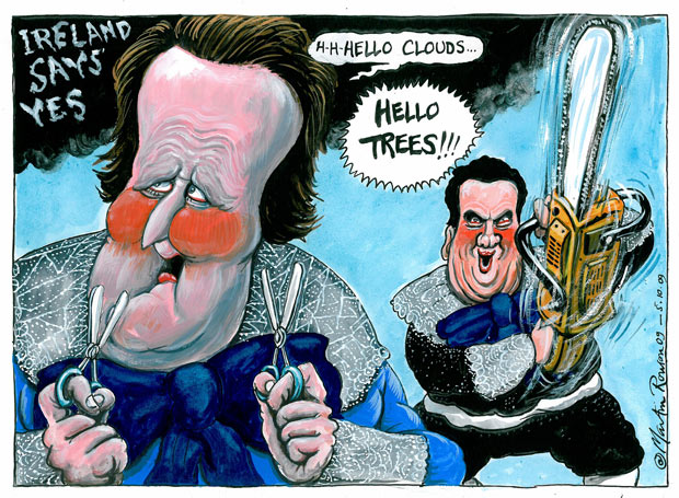 05.10.09: Martin Rowson on the Conservative party's planned cuts and reaction to Lisbon treaty