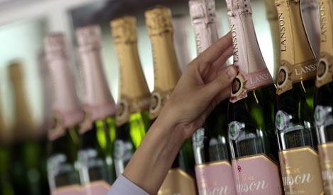 Champagne bottles on shelf