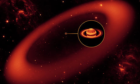 Artist's rendering of the newly discovered ring around Saturn