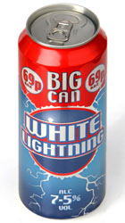 A can of White Lightning cider.