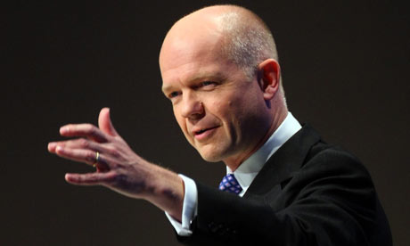William Hague addresses the Conservative conference in Manchester on 8 October 2009.