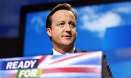 David Cameron speaking to the Conservative conference in Manchester on 8 October 2009.