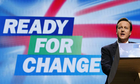 Conservative Party leader David Cameron delivers his keynote speech at the conference.