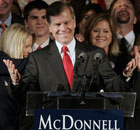 Republican Bob McDonnell greets supporters after winning the Virginia governor's race.