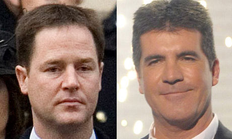 Nick Clegg and Simon Cowell. Photograph: Dan Jones/National Pictures/cpna and Ken McKay/Rex Features