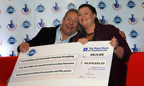 Euromillions winners Les Scadding and his wife Samantha Peachey-Scadding.