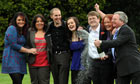 A group of British IT workers who won £45 million in the Euromillions lottery celebrate their win