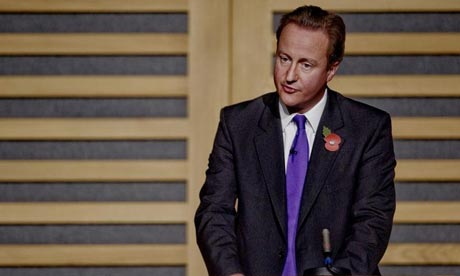 David Cameron giving the annual Guardian Hugo Young Lecture at Kings Place, in London