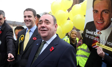 Alex Salmond, Scottish First Minister and SNP leader, campaigns with SNP candidate David Kerr