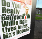 A poster about Labour candidate Willie Bain in the Glasgow North East byelection.