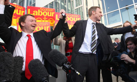 Willie Bain, the next MP for Glasgow North East, and Jim Murphy, the Scottish secretary