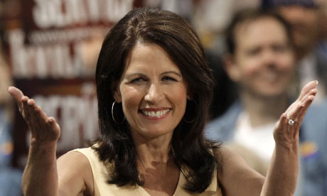 Michele Bachmann gestures as she speaks at the Republican National Convention in 2008. (Photo: Paul Sancya / AP)