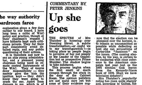 25 May 1977: Peter Jenkins: Up she goes. On Margaret Thatcher.