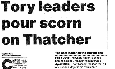22 May 1995: Stephen Bates: Tory leaders pour scorn on Thatcher