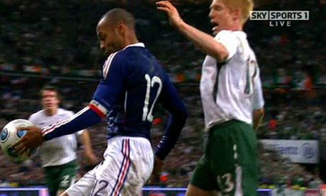 Thierry Henry handball against against the Republic of Ireland in Paris