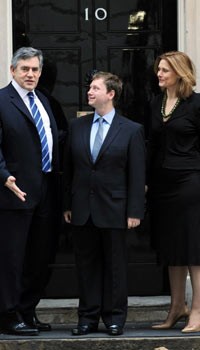 Gordon Brown, Willie Bain and Sarah Brown at Downing Street on 18 November 2009.