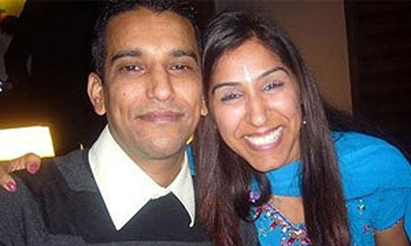 Geeta Aulakh, 28, with husband Harpreet. She was left to die in the street in north-west London